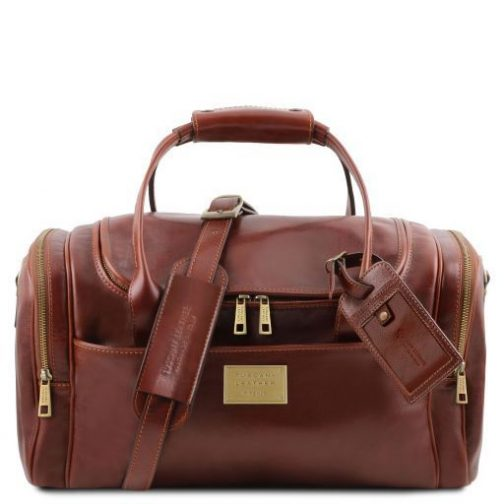 TL Voyager - Travel leather bag with side pockets - Small size-TL141441 1